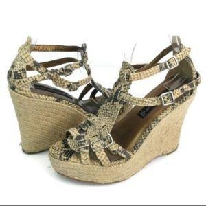 Steven Women's Brown/Tan Strappy Wedge Sandals